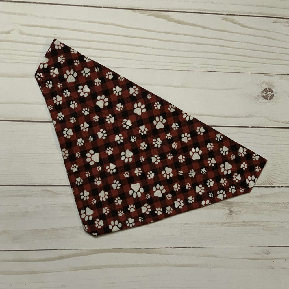 Handmade Pawprints & Plaid Bandana