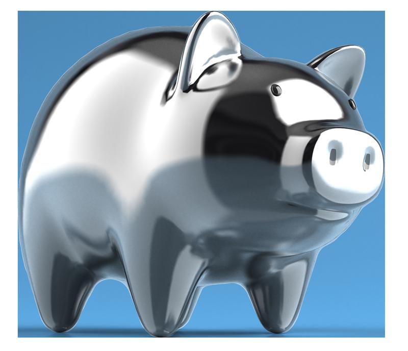 Reflective Silver Piggy Bank