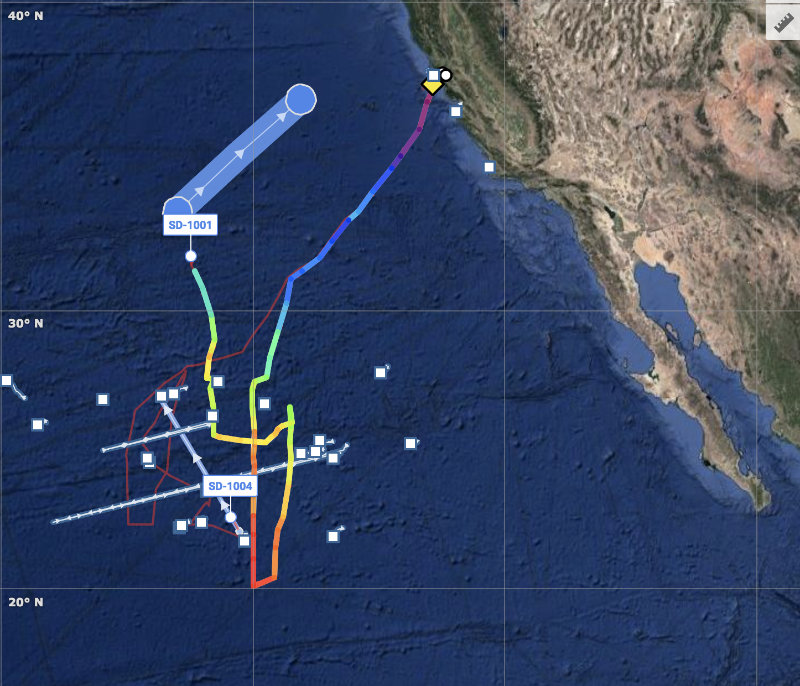 A map showing the saildrones' tracks from San Francisco to the White Shark Café.