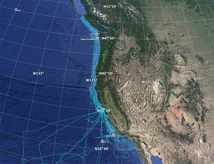 NOAA West Coast Survey Mission Tracks