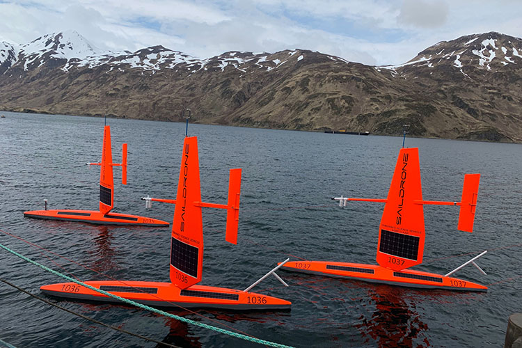 Three of six saildrones deployed from Dutch Harbor, AK, May 2019