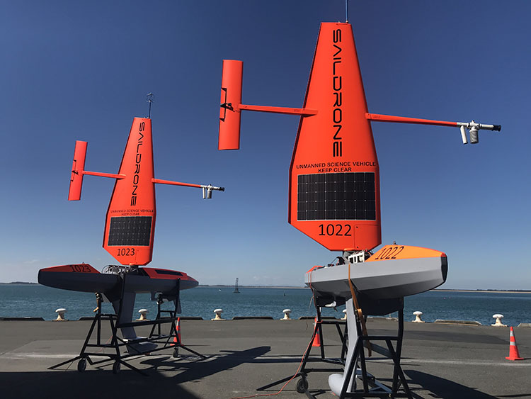 Generation 5 saildrones with standard wing on cradles
