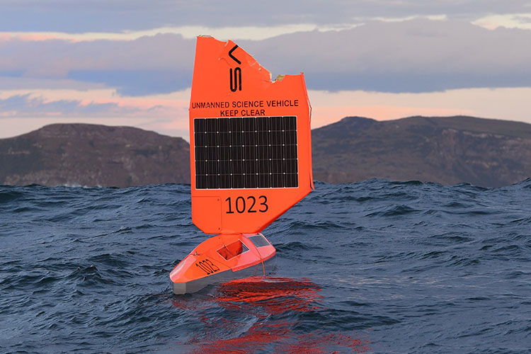 Saildrone 1023 with damaged wing