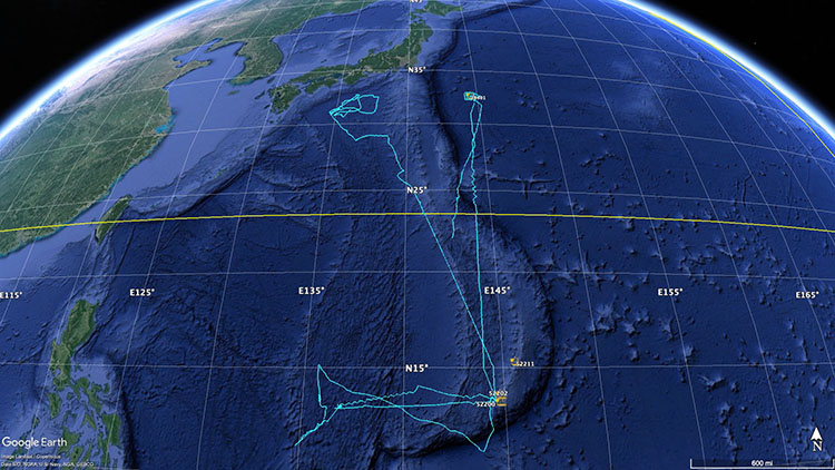 Saildrone mission track in Western Pacific for JAMSTEC