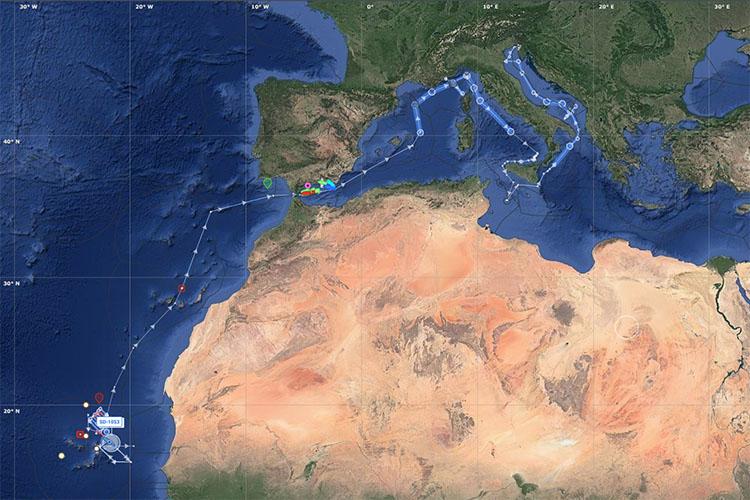 Saildrone ATL2MED mission track