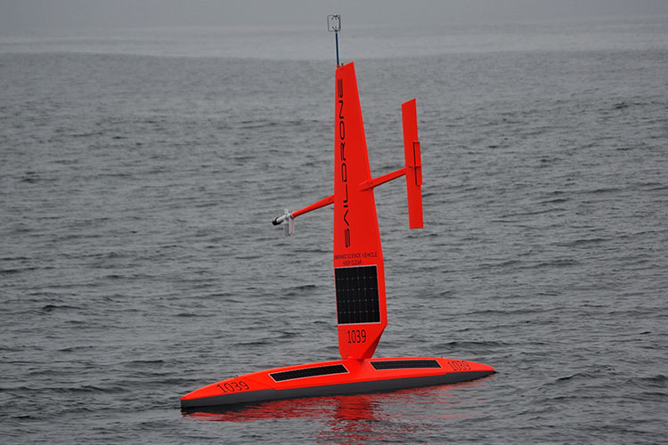 Photo of a saildrone taken from the NOAA ship Bell M. Shimada