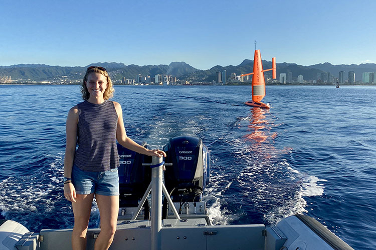 Jessica Perelman, University of Hawaii deploys a saildrone