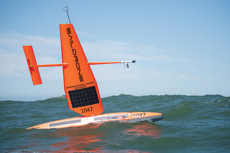 A saildrone collects data in the Pacific Ocean.