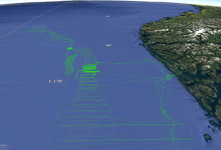 Detail of Saildrone mission tracks in the North Sea