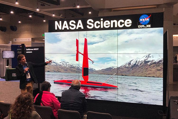 Sebastien de Halleux discussing Saildrone on the NASA hyperwall at Ocean Sciences Meeting 2020