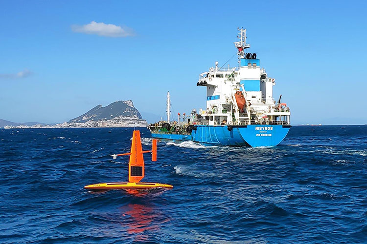 Traffic in the Strait of Gibraltar with a saildrone