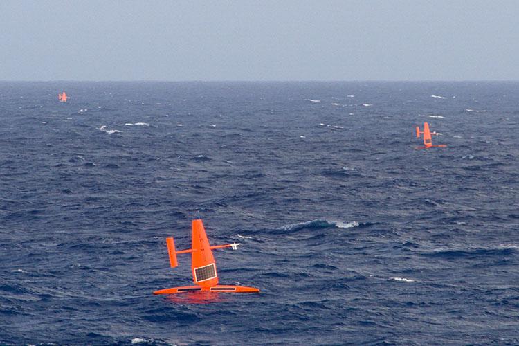 Saildrones triangle formation Atlantic Ocean