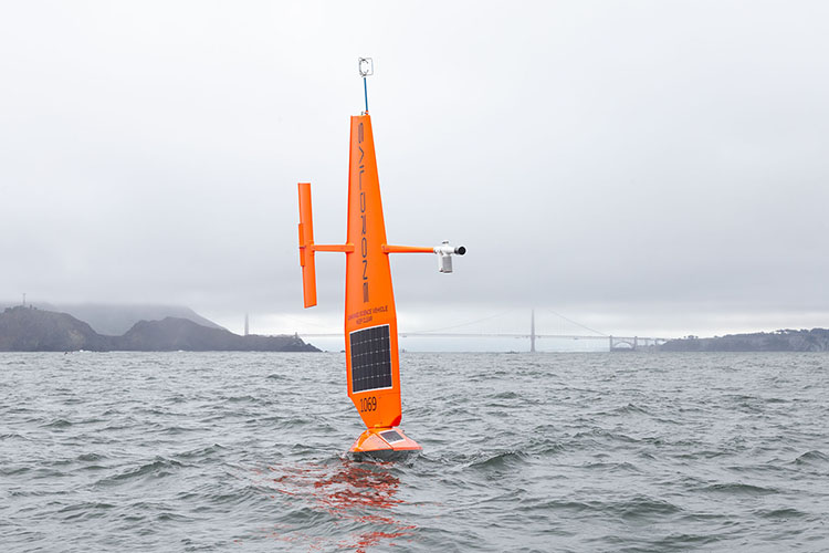 Saildrone in front of Golden Gate Bridge.