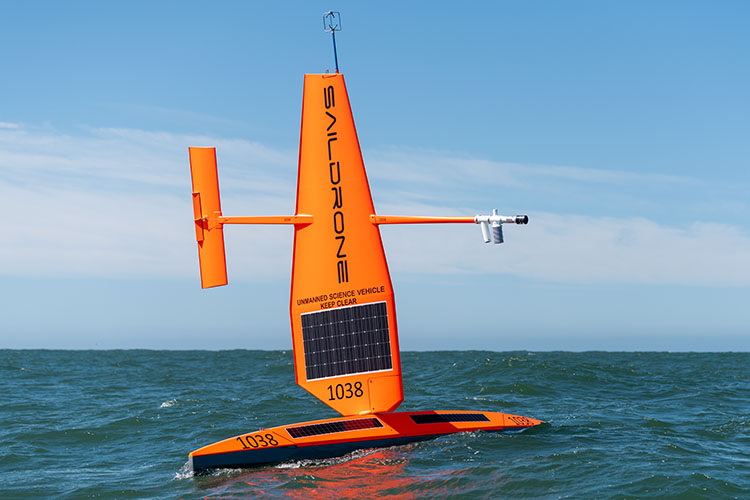 Saildrone collecting data in the ocean