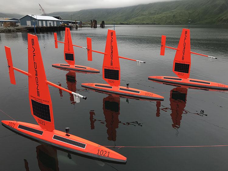 Four saildrones in Dutch Harbor, Alaska