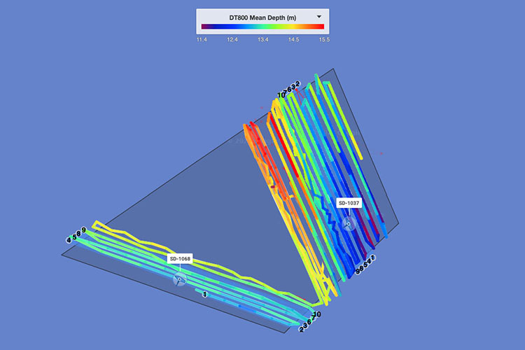 Saildrone bathymetry data in Norton Sound