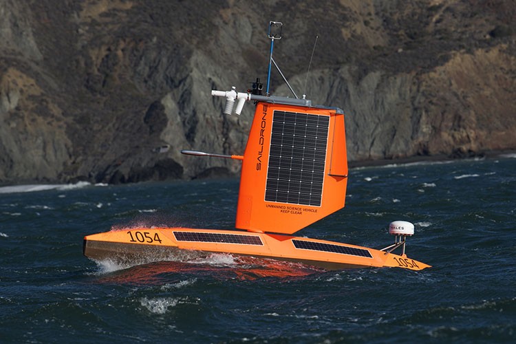 "Saildrone unmanned surface vehicle with short ""storm"" wing"