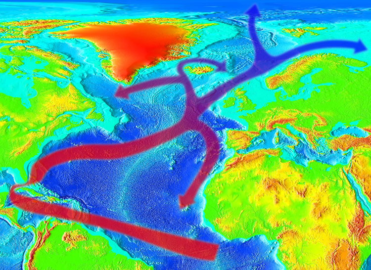 An illustration showing the path of the Gulf Stream and how it impacts weather on both sides of the Atlantic, with data from NOAA National Center for Environmental Information. Photo: RedAndr/Wikimedia.