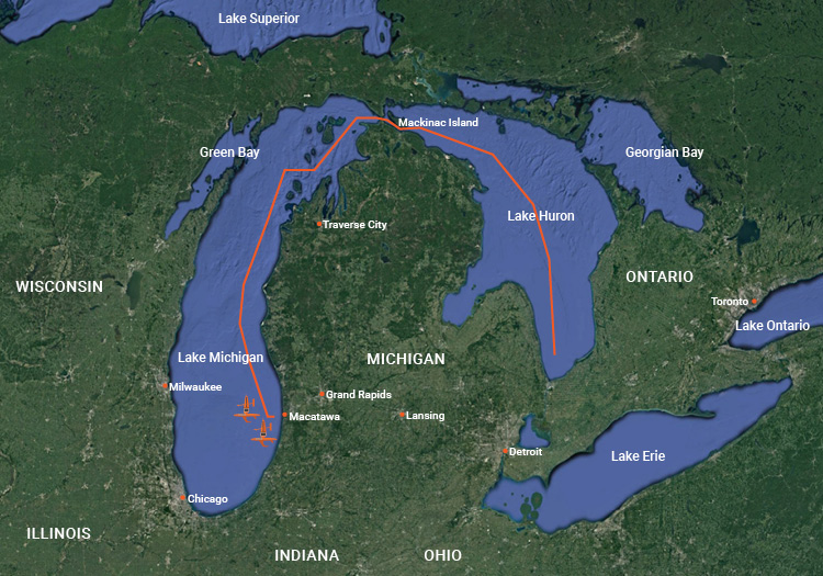 Saildrone operation area in the Great Lakes