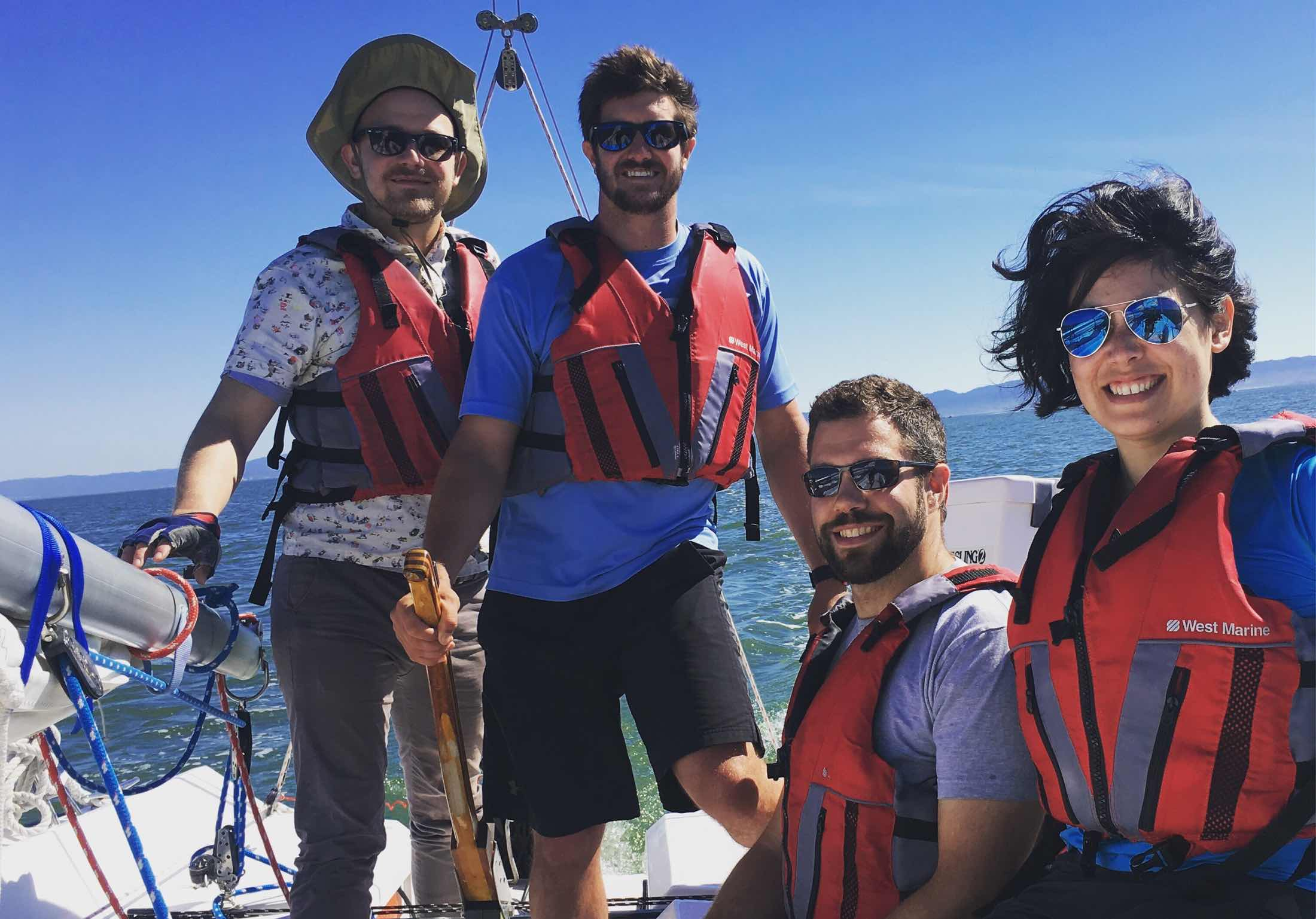 Saildrone team members participate in company-supported sailing lessons.