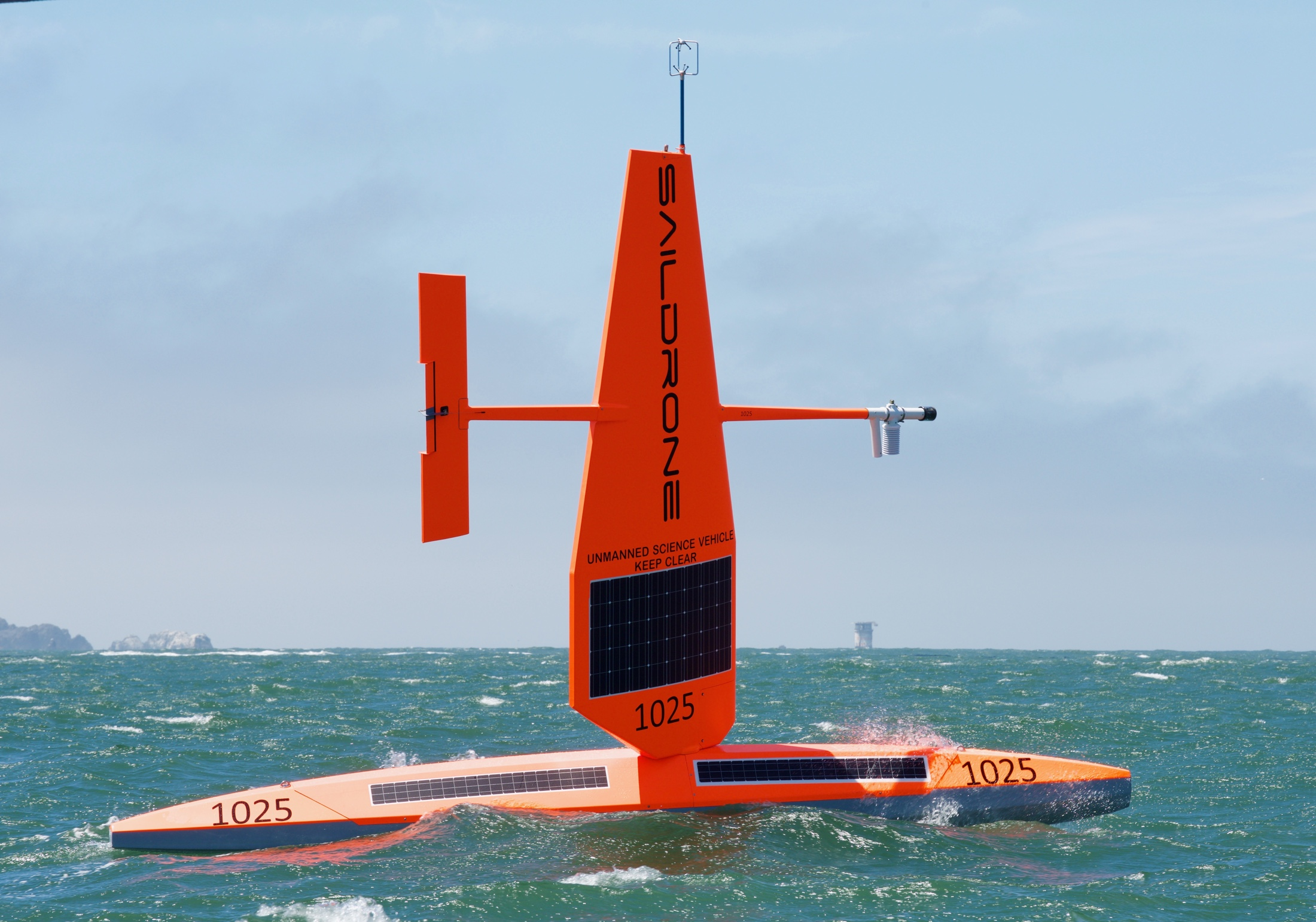 Saildrone on its way to a data collection mission in the Pacific