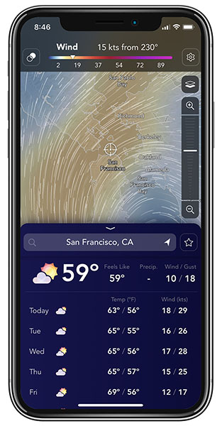 wind and temperature in San Francisco