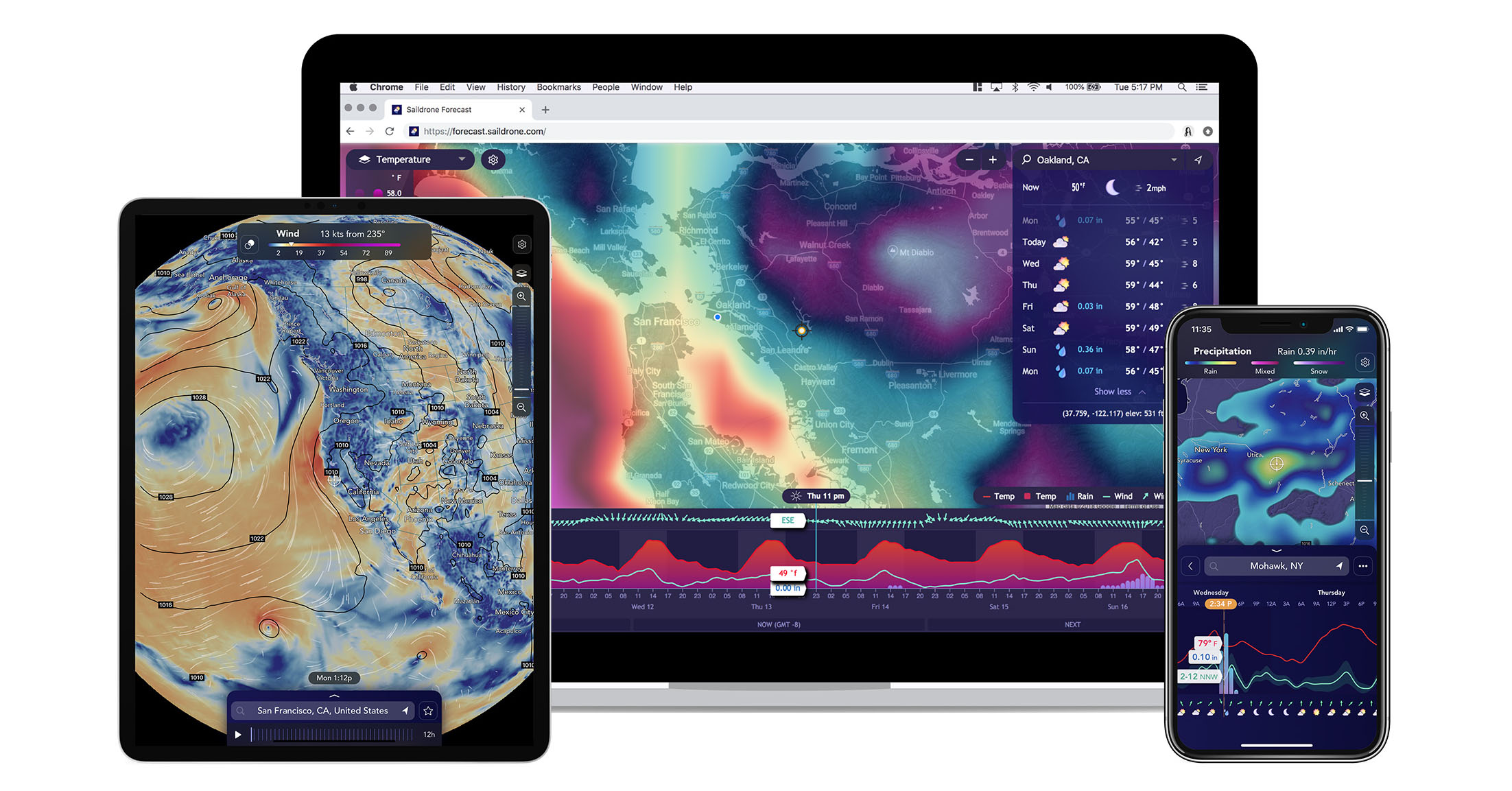 Saildrone Forecast as visualized on web, iPad, and iPhone 11 Pro