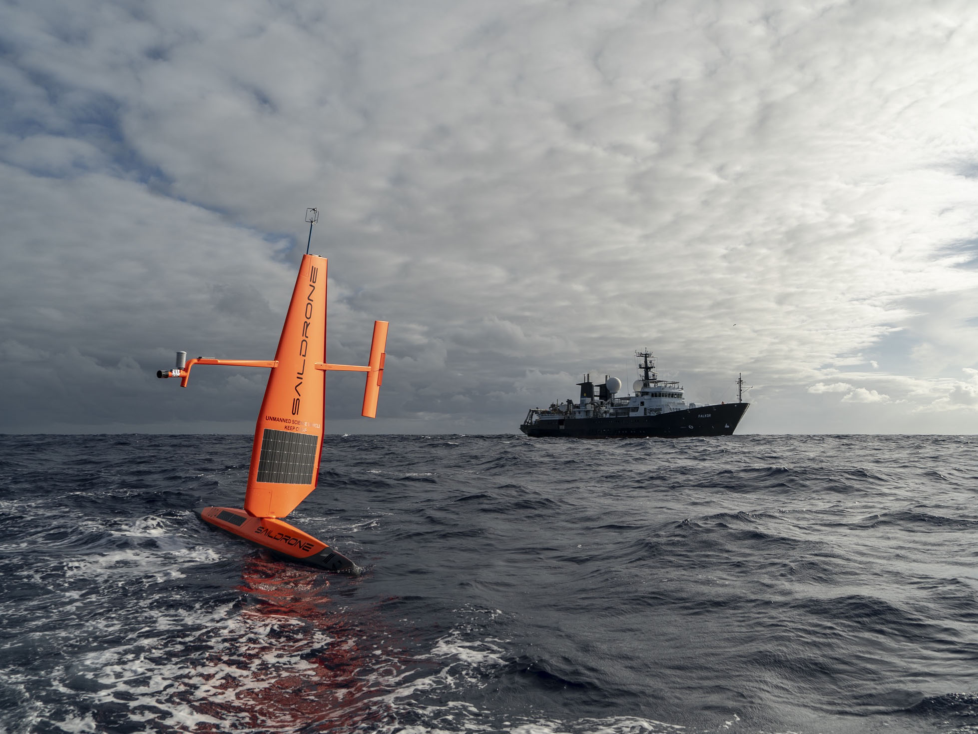 Saildrone USV with Schmidt Ocean Institute RV Falkor
