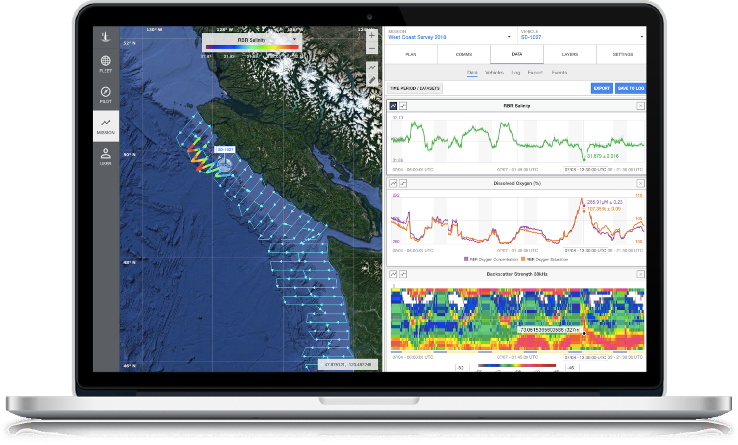 Screenshot of Saildrone Mission Portal