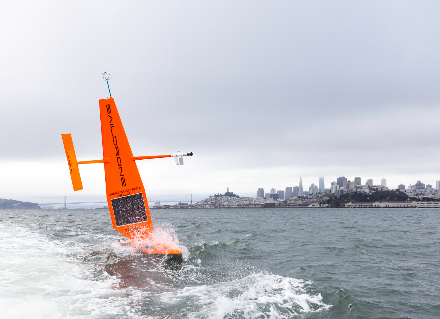 Saildrone Explorer with San Francisco in the background