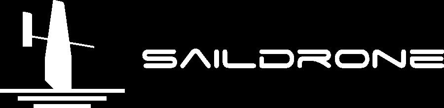 Saildrone logo white on blue