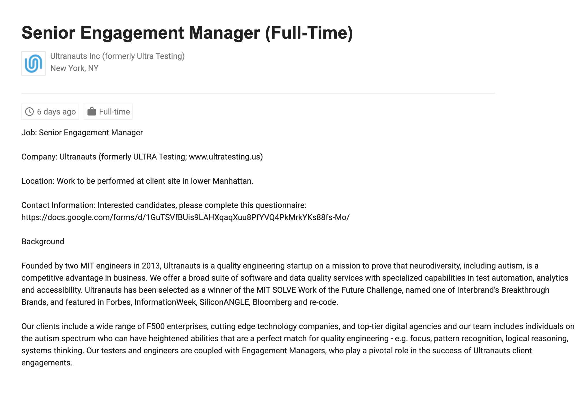neurodiverse job description