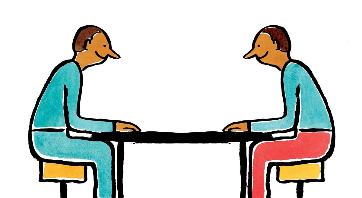 Illustration of two people sitting around a table during an interview