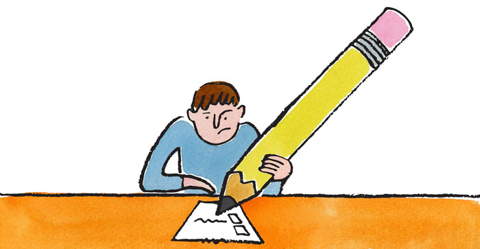 Illustration of guy checking off a checklist with a big pencil