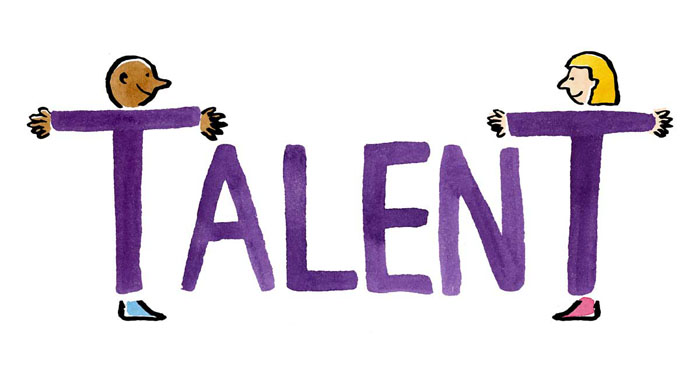 Illustration of two people as the T's in the word talent
