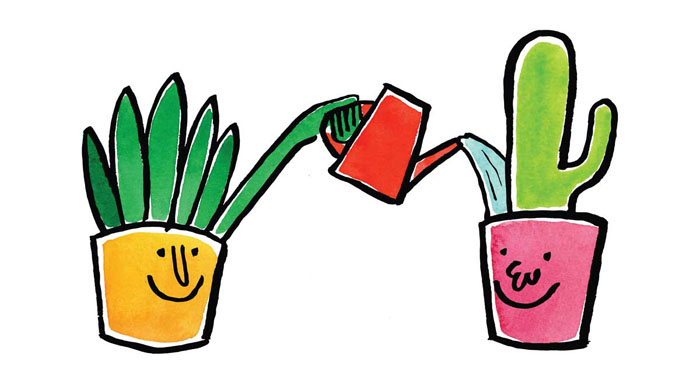 Illustration of a plant watering another plant