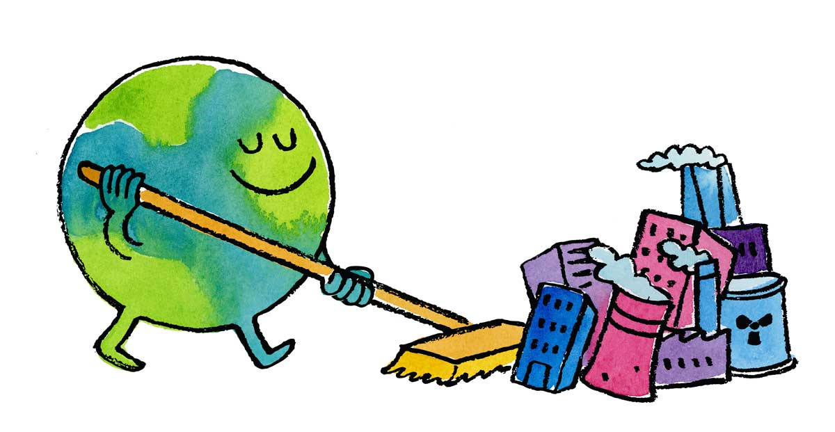 Illustration of earth sweeping up trash