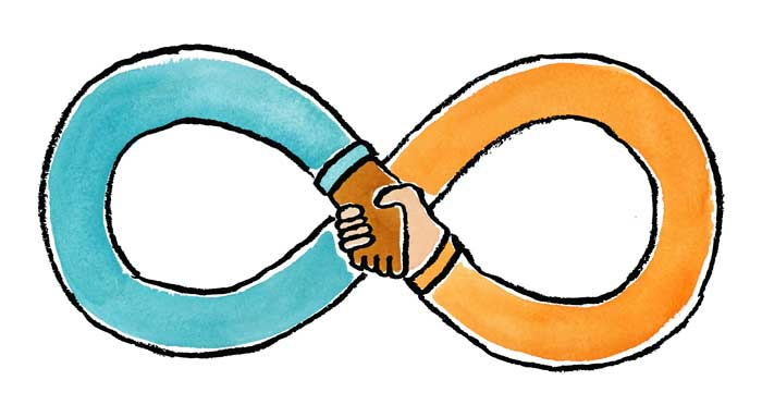 shaking hands that create an infinity symbol