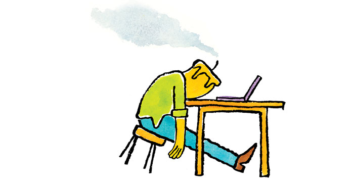 Illustration of a man with a candle as a head that is placed on his desk in front of a computer