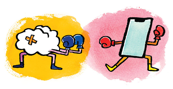 Illustration of a cloud boxing a tablet