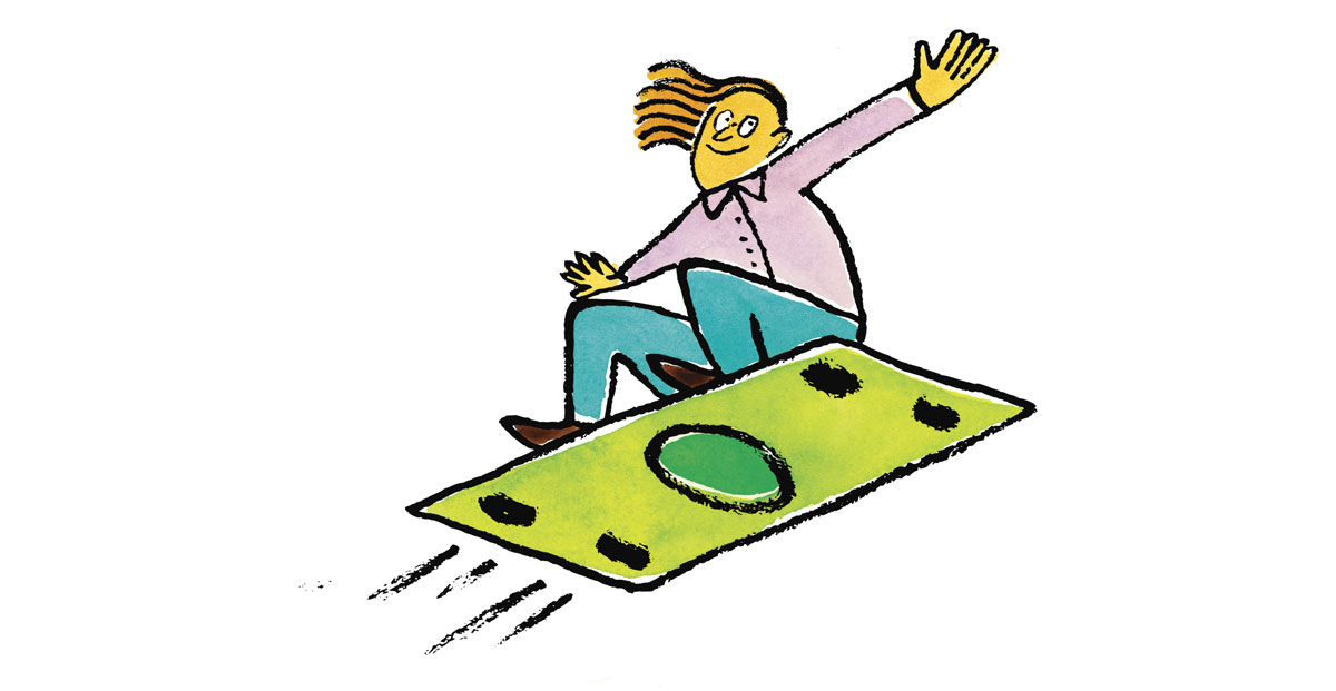 Illustration of a person surfing on a dollar bill