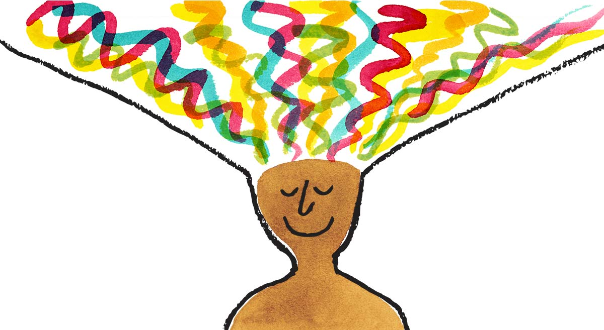 Illustration of a person with rainbow ribbons coming out of their head
