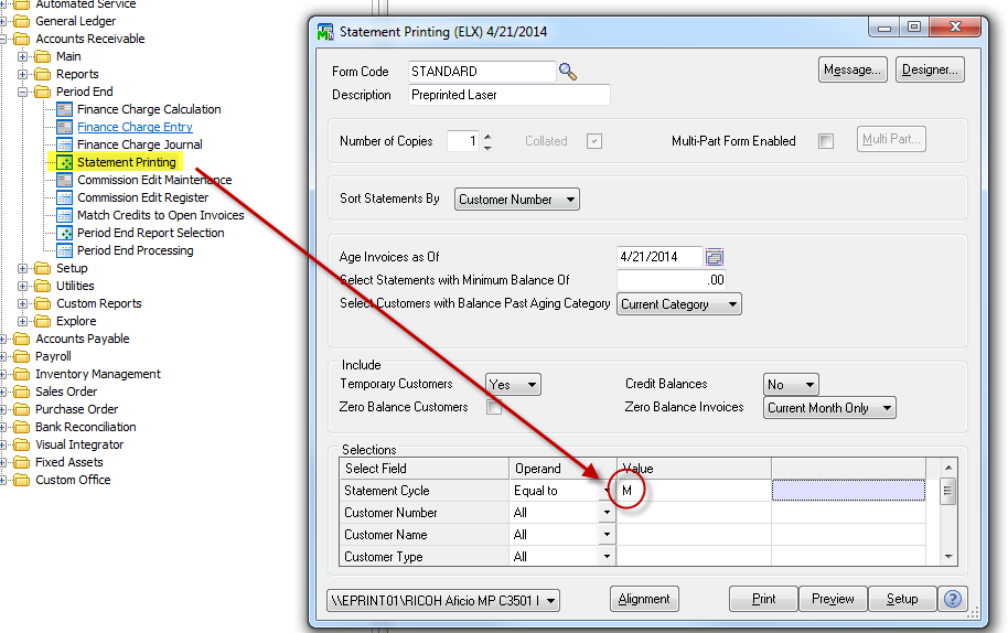 setting accounts receivable cycle date in Sage 100