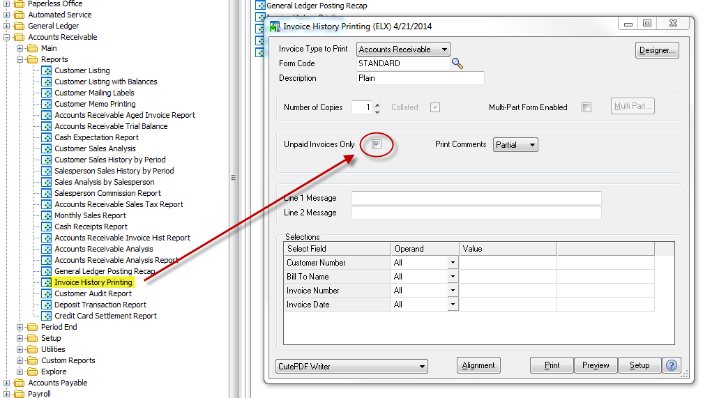 setting invoices to view unpaid only in Sage 100