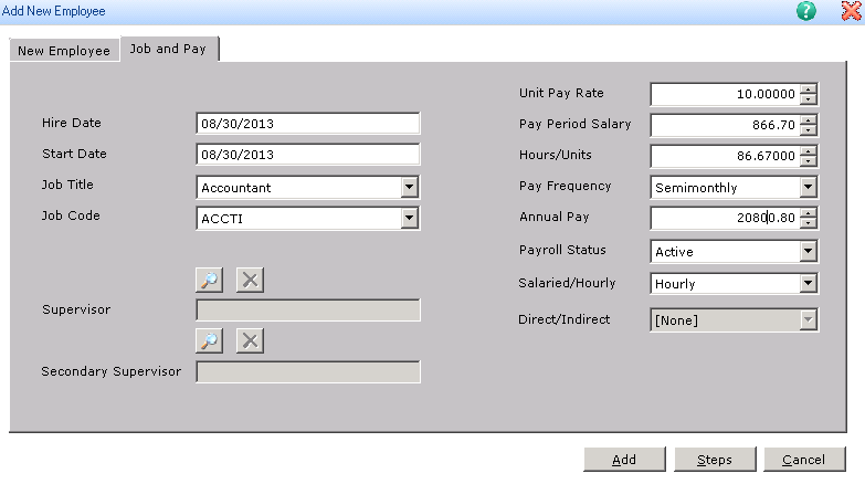 New Employee information Dialog in Sage HRMS