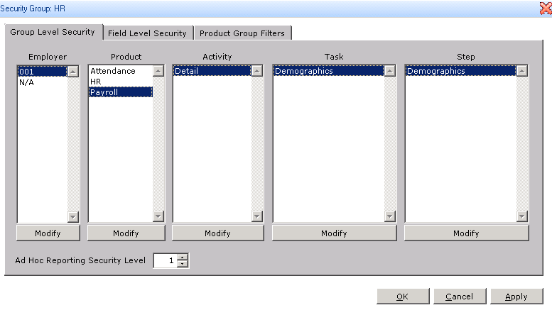 Adding Permissions Level in Sage HRMS
