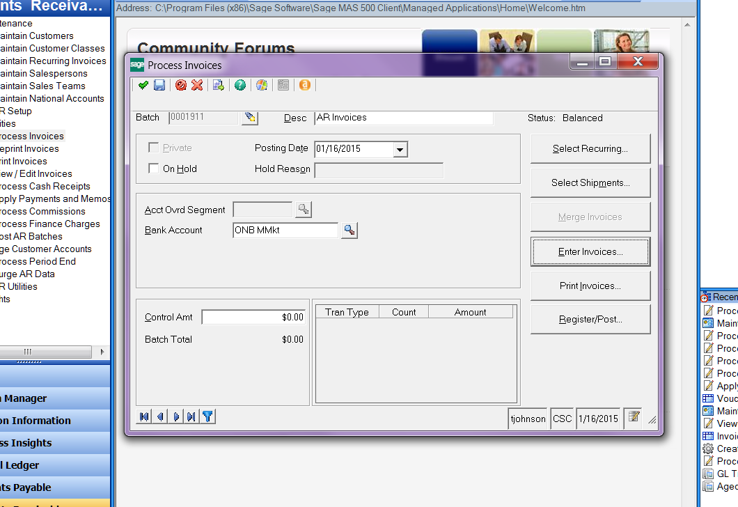 Process Invoices dialog in Sage software