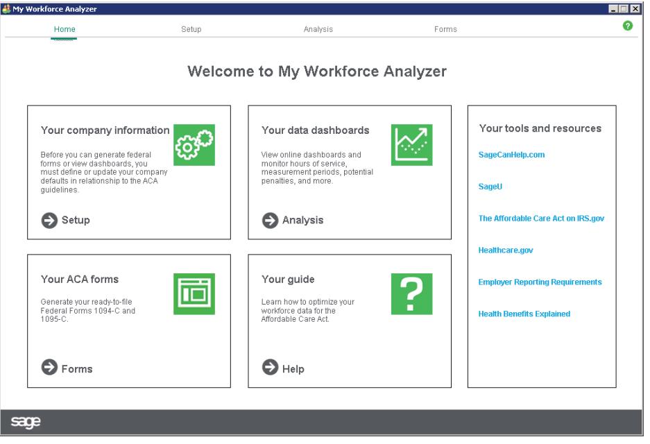 My Workforce Analyzer Homescreen