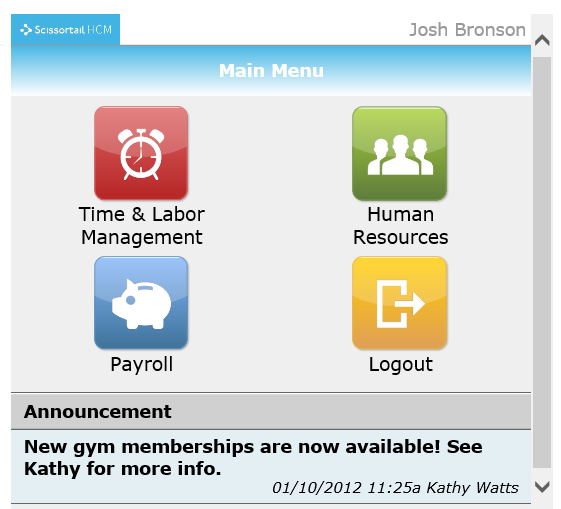 Mobile Landing page for Kronos Workforce