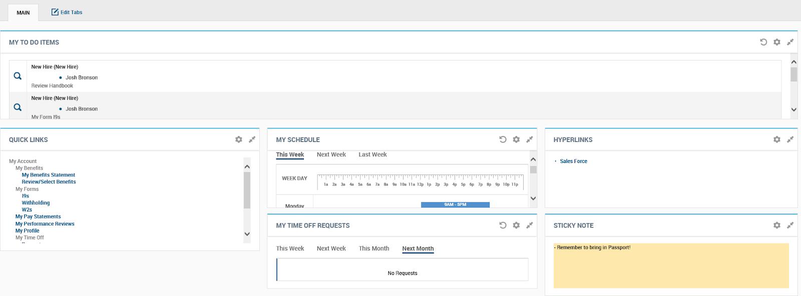 Kronos Workforce Ready Employee Self Service Dashboard Screenshot